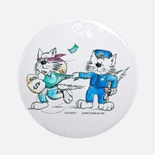 Police Cat Colored Ornament (Round)