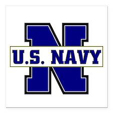 "U S Navy Square Car Magnet 3"" x 3"""