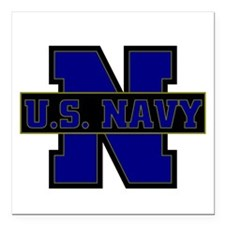 "US Navy Square Car Magnet 3"" x 3"""