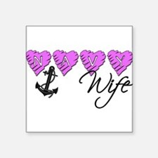 """navywife10.png Square Sticker 3"""" x 3"""""""