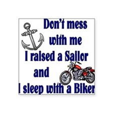 "2-RAISEDSAILORBIKER.png Square Sticker 3"" x 3"""
