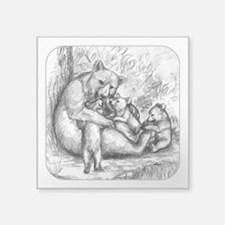 "Black Bear Family Square Sticker 3"" x 3"""