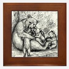 Black Bear Family Framed Tile