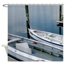 Wooden Sailboats at the Dock Shower Curtain