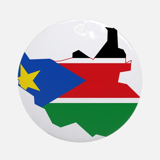 South Sudan Flag and Map Ornament (Round)