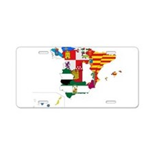 Spain Subdivisions Flag and Map Aluminum License P