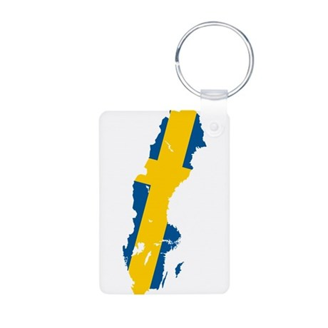 Sweden Flag and Map Aluminum Photo Keychain