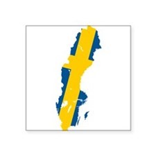 "Sweden Flag and Map Square Sticker 3"" x 3"""