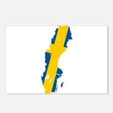 Sweden Flag and Map Postcards (Package of 8)
