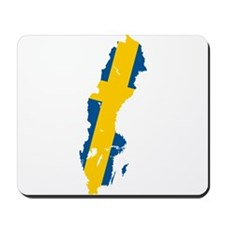 Sweden Flag and Map Mousepad