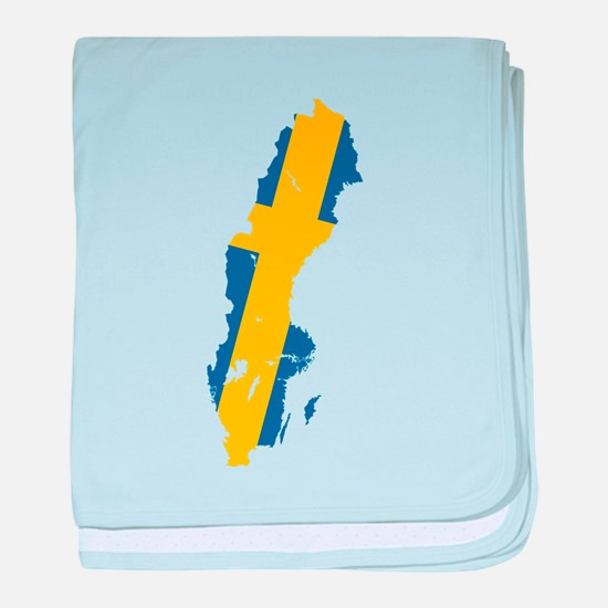 Sweden Flag and Map baby blanket