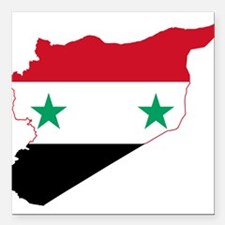 """Syria Flag and Map Square Car Magnet 3"""" x 3"""""""