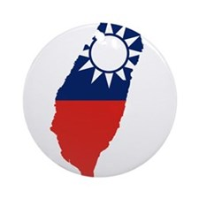 Taiwan Flag and Map Ornament (Round)