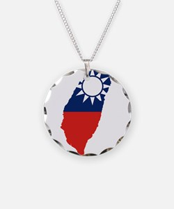 Taiwan Flag and Map Necklace