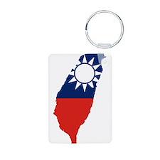 Taiwan Flag and Map Aluminum Photo Keychain