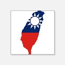 "Taiwan Flag and Map Square Sticker 3"" x 3"""