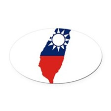 Taiwan Flag and Map Oval Car Magnet