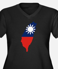 Taiwan Flag and Map Women's Plus Size V-Neck Dark