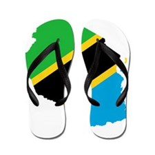 Tanzania Flag and Map Flip Flops
