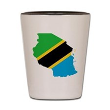 Tanzania Flag and Map Shot Glass
