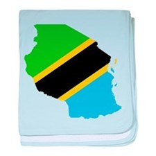 Tanzania Flag and Map baby blanket