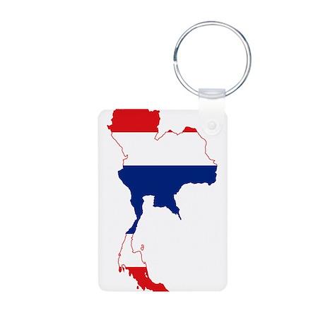 Thailand Flag and Map Aluminum Photo Keychain