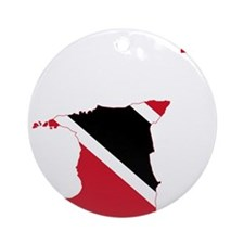 Trinidad and Tobago Flag and Map Ornament (Round)