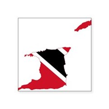Trinidad and Tobago Flag and Map Square Sticker 3""