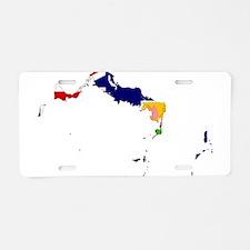 Turks and Caicos Islands Flag and Map Aluminum Lic