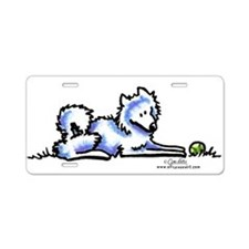 Samoyed Time Out Aluminum License Plate