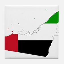 United Arab Emirates Flag and Map Tile Coaster