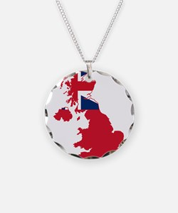 United Kingdom Civil Ensign Flag and Map Necklace