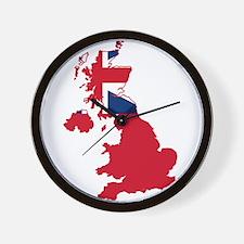 United Kingdom Civil Ensign Flag and Map Wall Cloc