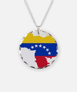 Venezuela Flag and Map Necklace