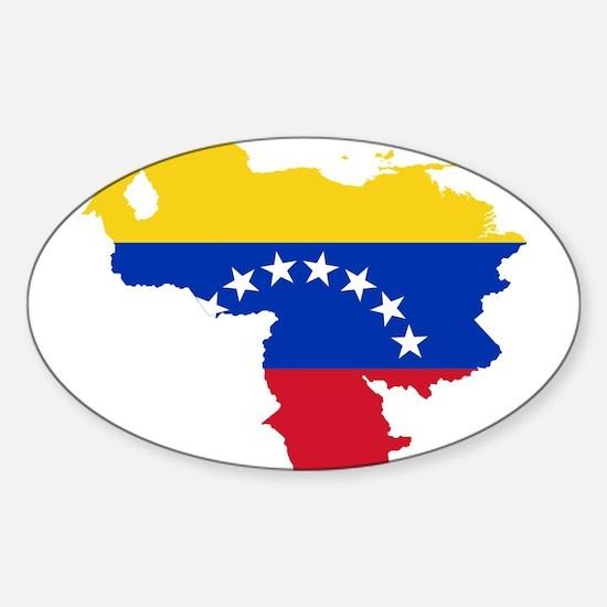Venezuela Flag and Map Sticker (Oval)