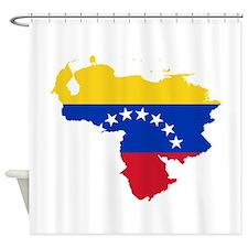 Venezuela Flag and Map Shower Curtain