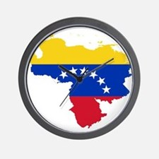 Venezuela Flag and Map Wall Clock