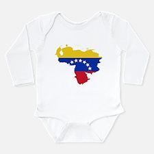 Venezuela Flag and Map Long Sleeve Infant Bodysuit
