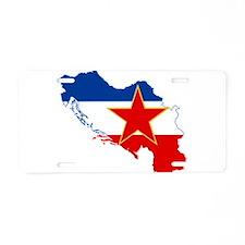 Yugoslavia Flag and Map Aluminum License Plate