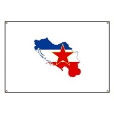 Yugoslavia Flag and Map Banner