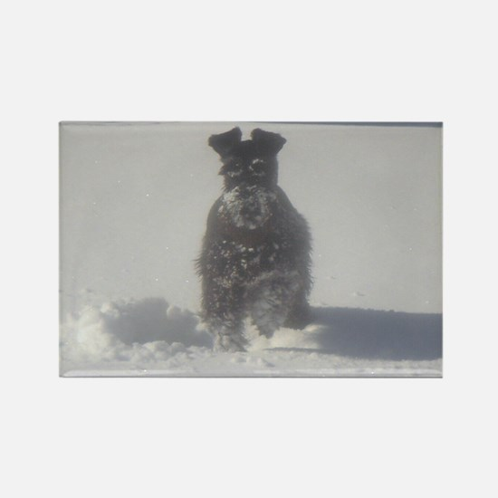 Schnauzer Snowman Rectangle Magnet