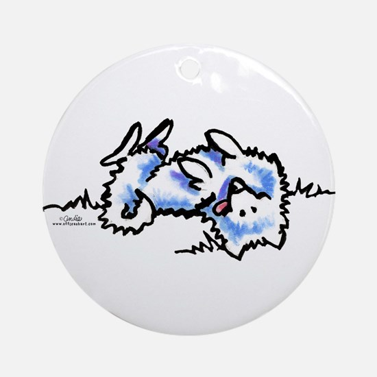Eskie Play Dead Ornament (Round)