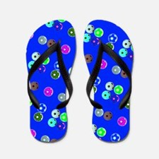 Blue Hello Soccer Football Fiesta Flip Flops