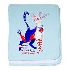 4th Of July American Kitty Shirt baby blanket