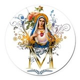 Immaculate heart Round Car Magnets
