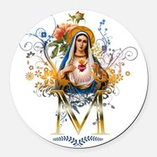 Immaculate Heart of Mary Round Car Magnet