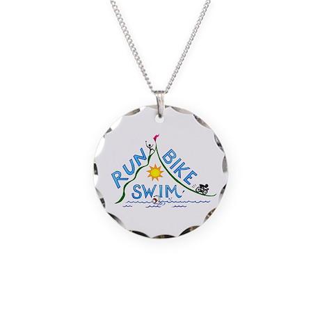 Run, Bike, Swim Necklace Circle Charm