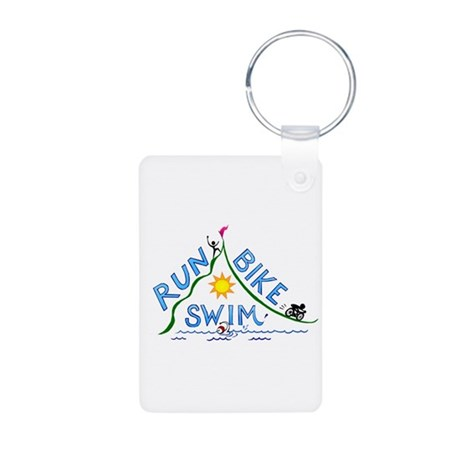 Run, Bike, Swim Aluminum Photo Keychain