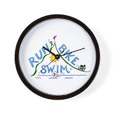 Run, Bike, Swim Wall Clock