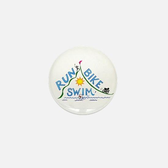 Run, Bike, Swim Mini Button (10 pack)